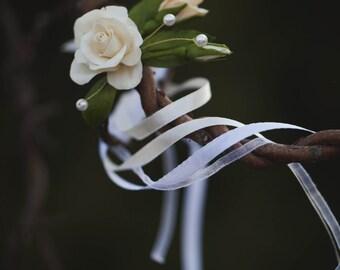 Wedding Bracelet - Handmade Bracelet - Rose Bracelet - Floral Bracelet - Cold Porcelain Bracelet - Flower Bracelet