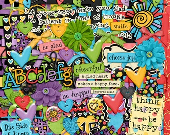 Digital Scrapbooking Kit: A Glad Heart, Illustrated Faith
