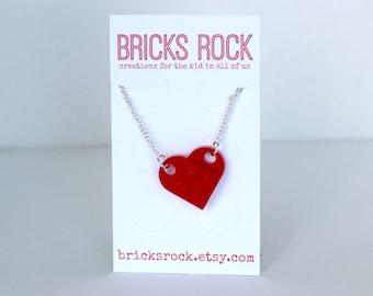 Red LEGO® Heart Necklace - Valentine's Day - LEGO® Jewelry