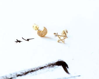 Gold Moon Star Stud Earring 925 Silver Diamond Earring Pentagon Sky Stud Earring Simple Dainty Earring Wedding Bridal Anniversary Ideal Gift