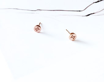 Gemini Stud Earring 18K Rose Gold Horoscope Stud Earring Star Sign Earring Simple Everyday Earring Birthday Gift Horoscope Astrology Earring