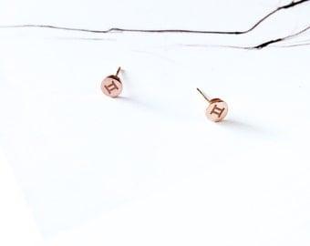 Gemini Stud Earring 18K Rose Gold Horoscope Stud Earring Star Sign Earring Simple Everyday Earring Birthday Gift Horoscope Astrology Earring
