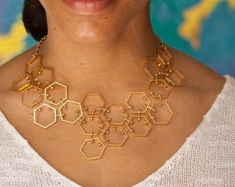 Hexagon Bib Necklace, Gold Tone