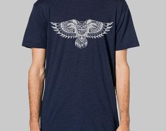 Mens Owl Shirt - American Apparel mens tee, graphic tees for men