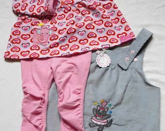 3 pcs baby girl clothes set size 9 months, baby pinafore, baby tunica, baby leggings