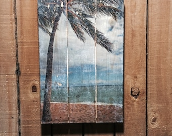 Beach Decor - Palm Tree Photo on Wood - Oahu - Hawaii - 11x17 - Wood Wall Art - Handmade Wood Sign - Home Decor