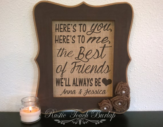 Wedding Gifts For Good Friends: Best Friend Wedding Gift Best Friend By RusticTouchBurlap