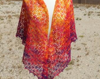 Yellow, Orange, and Purple Variegated Lace Silk and Merino Wool Triangular Crocheted Shawl
