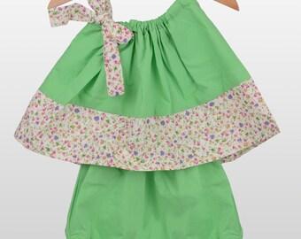Cotton Green Pillowcase Summer Dress, Baby Girl Summer Two Piece Set, Baby Girl Birthday Dress, Baby Girl Party Dress, Size 12-18 months