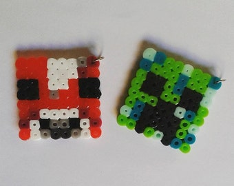 Minecraft Mooshroom and Creeper pendants perler bead Geekery/Gamer/Nerd Art