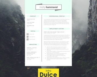 """Resume Template   CV Template + Cover Letter + Application Advice   MS Word   Resume Design / CV Design - Instant Download   """"Fitzrovia"""""""