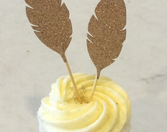 Gold Glitter Feather Topper