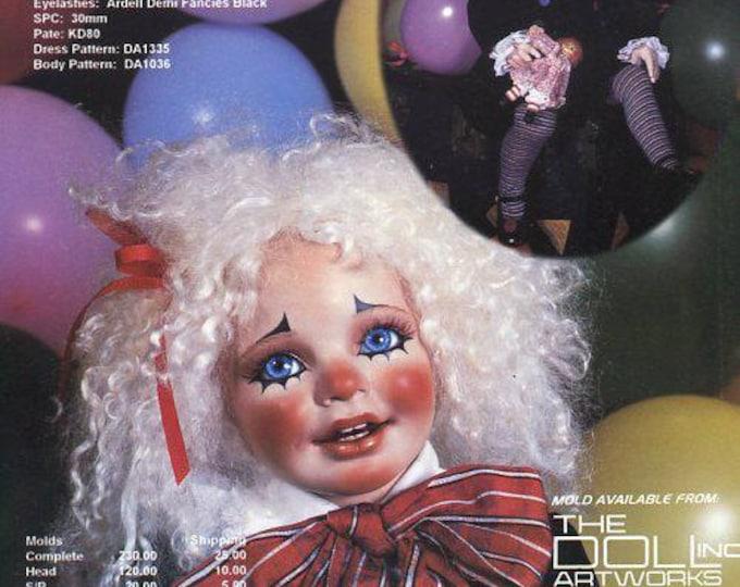 "FREE US SHIP Bell Ceramics Doll Inc Artworks Liza  Clown Costume Donna Rubert 24"" New Sewing Pattern for Ceramic Mold Dolls"