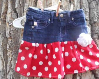 Upcycled Blue Jean Skirt,  Girls Size 10
