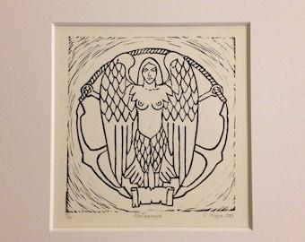 Linocut Sirena Parthenope
