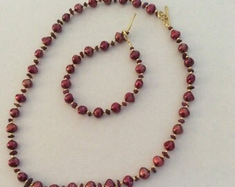 Baroque Pearl and Ruby Necklace & Bracelet Set Cranberry Crush