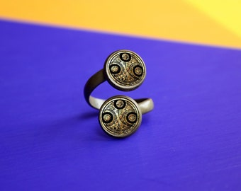 Handmade Doctor Who Ring, Double Ring, gift for Her Him, Ring jewelry