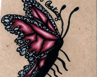Original Pink Butterfly Drawing