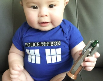 Doctor Who Baby Outfit - Geeky Baby Bodysuit - Nerdy Baby Shower Gift - Tardis Baby Gear