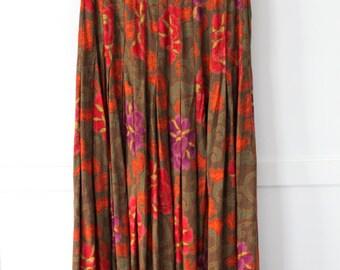 Ellen Tracy Long Pleated Skirt - green floral - sz 25in