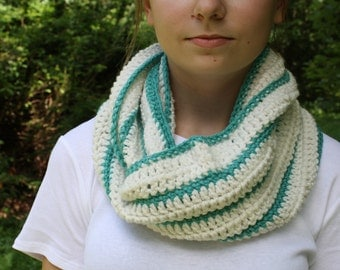 White and Blue Striped Crochet Cowl