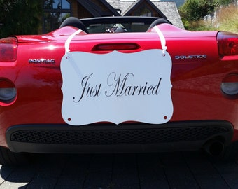 """LARGE """"Just Married"""" Car Sign"""