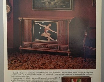 1968 Magnavox Color TV Print Ad - Crafted Furniture