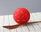 Temari, Japanese threadball, bright red, handmade temari ball