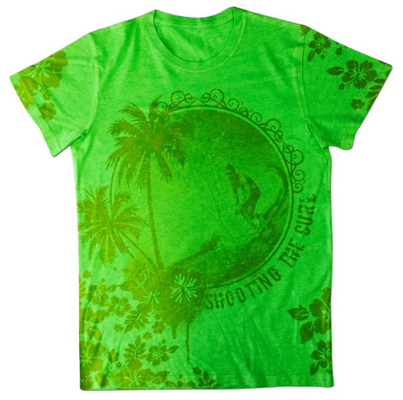 All over print hawaiian graphic t shirt shooting the curl for Hawaiian graphic t shirts