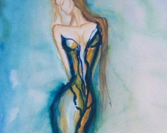 "Fashion Illustration 20x24"" watercolor painting original signed only one, no prints"