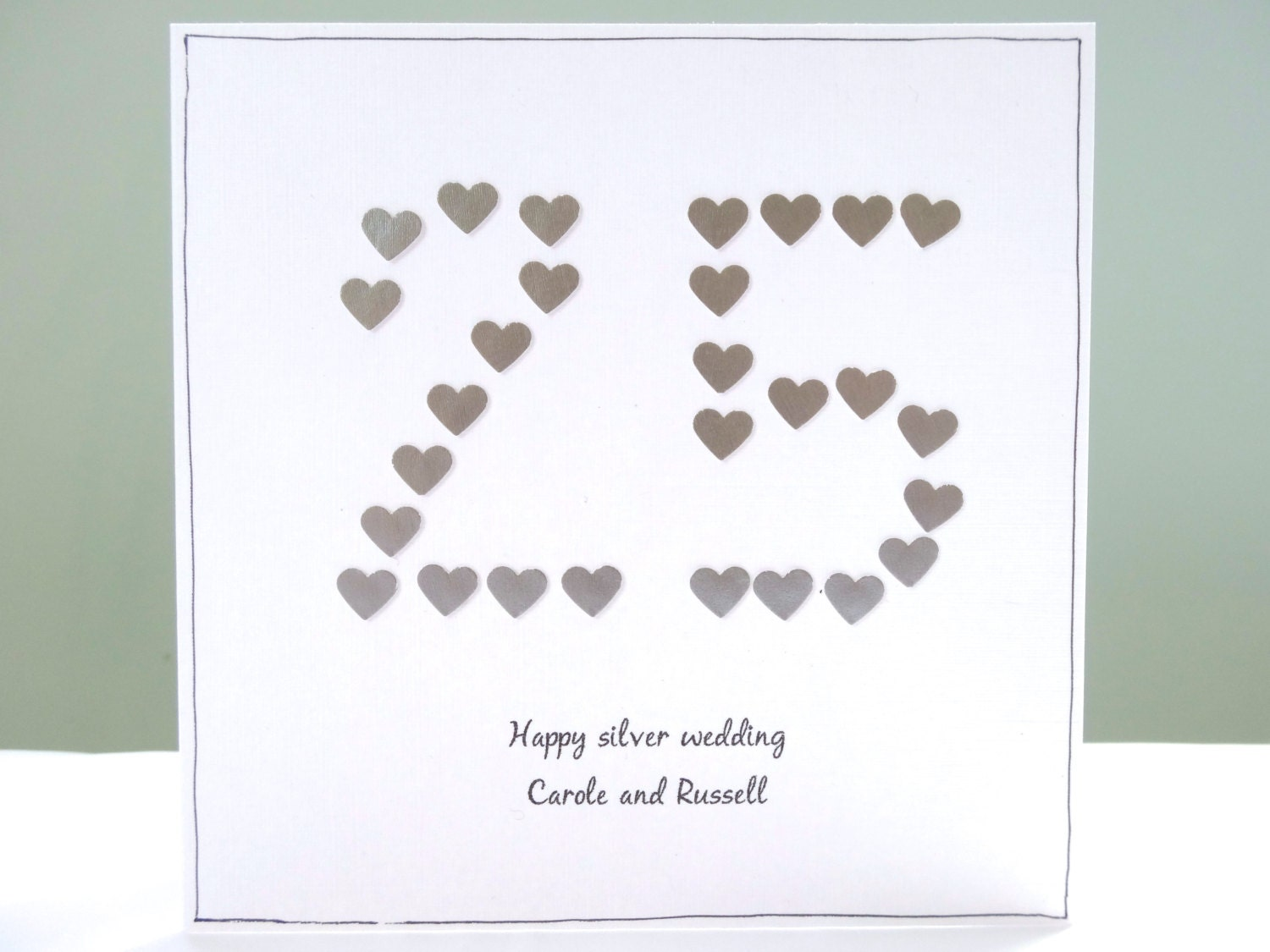 Silver Wedding Anniversary Card Personalised