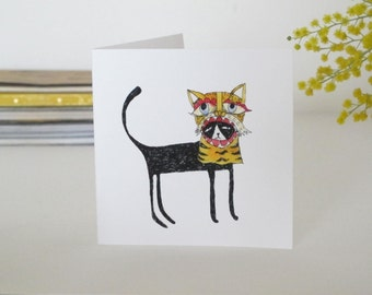 Square Greeting Card: Cat in a Tiger Mask