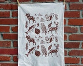MOUNTAIN ANIMALS - flour sack tea towel cotton screenprinted with brown ink white fabric outdoors nature fauna