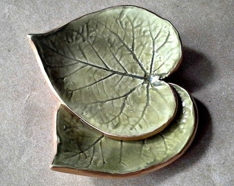 Leaf set of TWO Ceramic Ring Dishes Sage Green edged in gold