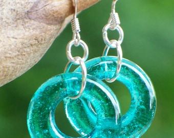 Recycled vintage blue mason jar/Hoop Earrings/Wedding/Old Bottles/Something Blue/Eco Friendly Jewelry/Handmade/Repurposed Jewelry/Mom Gifts