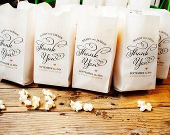 Wedding Favor Popcorn Bags - Thank You Swirl Pop - Custom Names and Date - 20 Popcorn Bags in each Pack