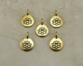5 TierraCast Round Lotus Stamp charms > Zen Yoga Buddhism Stampable - 22kt Gold Plated Lead Free pewter - I ship Internationally 2403