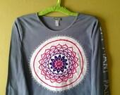 Om mani padme um yoga long sleeve Mandala t shirt batik Women's Clothing hand painted hand dyed gray - Ethically made product -