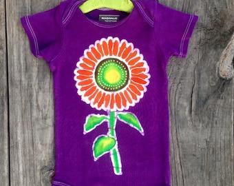 SALE Sunflower boho baby girl bodysuit hand dyed purple batik flower organic cotton one piece Girls clothing hand painted, hippie baby girl