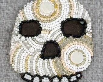 Little Skull Beaded Painting // Mixed Media Art // Bead Embroidery // Seed Beads // Fabric // Framed Art