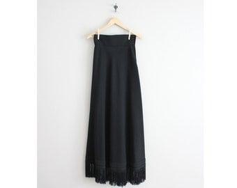 wool maxi skirt / long fringe skirt / black wool skirt