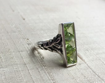 SALE Peridot in Sterling Silver- The Indigo Ring