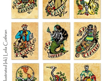Day of the Dead Art Prints Mexican Loteria SET of 9 Designs - 5 x 7, 8 x 10, or 11 x 14