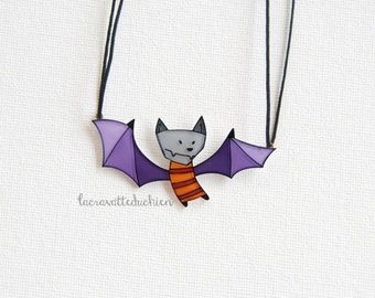 Bat necklace, halloween bat jewelry, animal jewelry