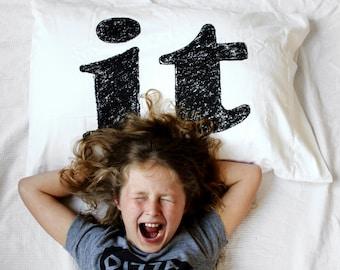 "Unique Dorm Decor ""Sleep on It"" Pillowcase - modern decor, black white, Garamond typography, dorm room girl, gift for college student"