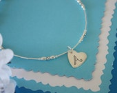 Silver Heart Anklet Personalized, Mom Charm Anklet, Silver Anklet, Beach, Vacation, Choose your Charm Anklet, Monogram Charm, Heart Charm