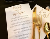 Wedding Menus to match our famous invitation script - available in any color, shown in gold