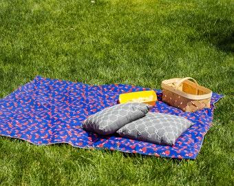 Picnic Blanket, Foxes on Blue, Fox Blanket, Beach Blanket, Stadium Blanket, Waterproof Backing
