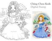 Alice And Cheshire - Digital Stamp Instant Download / Animal Cat Kitty Rose Mushroom Wonderland Fairytale Fantasy Art by Ching-Chou Kuik