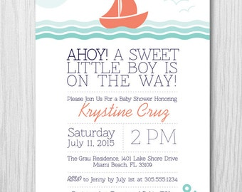 COLOR OPTIONS Nautical Sail Boat Baby Shower Invitation, For a Boy or Girl, Digital File, Printable, by Paper Squid - Item 159B